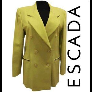 Escada lime green wool vintage blazer zipperpocket